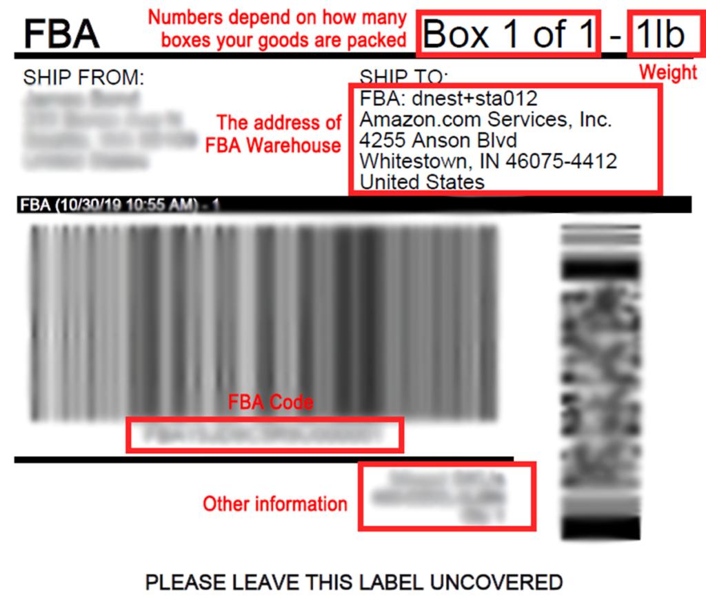 Details of FBA label